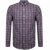 Product Image for Gant Long Sleeved Oxford Check Shirt Navy